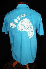 Rare Vintage 1960'S Diamond Head Sportswear Turquoise Rayon Hawaiian Shirt Sz S