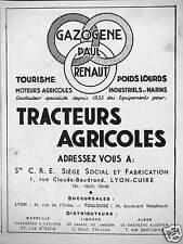 PUBLICITÉ GAZOGÈNE PAUL RENAUT TOURISME POIDS LOURDS TRACTEURS AGRICOLES