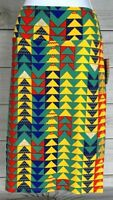 New LuLaRoe Women's Cassie Pencil Skirt Size M Multicolor Teal Red NWT A4612