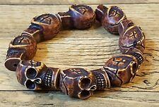 Invecchiato GRANDE cranio Perline braccialetto realizzato in osso di yak pesante GIORNO MORTI sciamanici Set