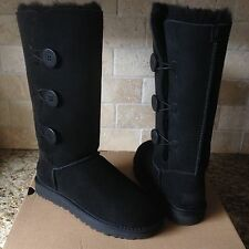 UGG BAILEY BUTTON TRIPLET TRIPLE II BLACK SUEDE TALL BOOTS SIZE US 8 WOMENS