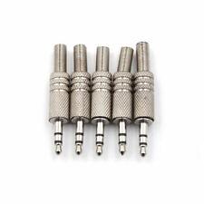Lot de 4 Fiches Jack 3,5mm Stéréo Mâle à Souder Capot métal argenté NEUF