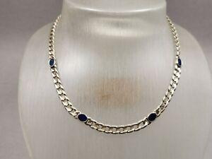 Silber Collier 925 Sterling Halskette Panzer Kette mit Lapis Lazuli veredelt