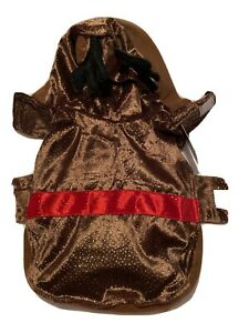 Pet  Dog Christmas Reindeer Hoodie Costume Sparkles Antlers Brown Nwt