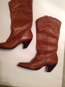 White Mountain Tan Dallas Western Boot Mid-calf Leather NIB 7M Mid Heel
