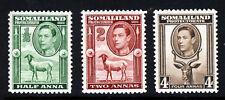 SOMALILAND King George VI 1942 Wildlife Group SG 93, SG 95 & SG 97 MNH