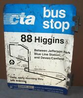 Vtg 2 Sided CTA Bus Stop 88 HIGGINS Chicago Aluminum Sign 24 x 18 S672