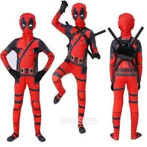 Children Kid Superhero Costume Deadpool Full Body Halloween Fancy Cosplay Set.