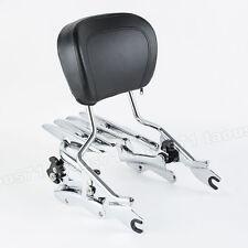 Chrome Stealth Rack Sissy Bar Backrest+Docking Kit For Harley Touring 2014-later