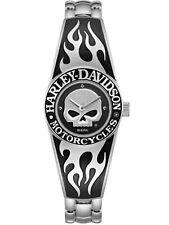 Harley Davidson Women's Flames Willie G Skull Watch 76L190