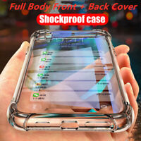 For iPhone XS XR XSM 8 7 360 Shockproof Silicone Full Body Cover Clear TPU Case