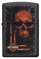Zippo Harley Davidson Lighter With Sinister Orange Skull, 29654, New In Box