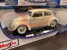 Maisto 1:18 Scale Diecast Model Car - 1955 Volkswagen Kafer-Beetle (White)