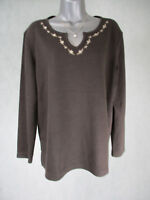 Ladies BonMarche Long Sleeve Brown Jumper with Floral Design UK Size Medium