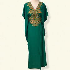 Moroccan kaftan caftan, Embroidery Batwing Maxi Cotton Dress, One size Abaya