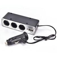 Black 3 Ways Multi Socket Car Cigarette Lighter Splitter USB ChargerFEH