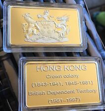 Hong Kong British Crown Colony Ingot Bar With Capsule Gold Finished Collectable