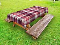 Checkered Outdoor Picnic Tablecloth Ambesonne in 3 Sizes Washable Waterproof