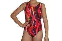New girls gymnastic leotard metallic red ribbon print