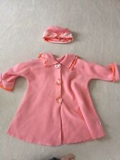 Girls peach lightweight spring Corky coat and matching hat size XS-(4/5)