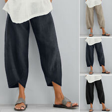 ZANZEA Women's Long Pants Casual Solid Wide Legs Harem Pants Plain Trousers Plus