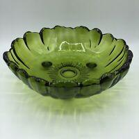 Vtg Green Glass Large Sunflower Flower Fruit Salad Centerpiece Bowl Footed Heavy