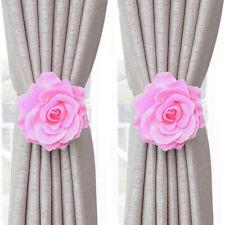 2Pcs Rose Peony Flower Magnetic Curtain Tie backs Romantic Warm Drapery Holdback