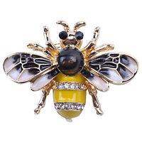 Modische Bumble Bee Crystal Brosche Pin Kostuem Abzeichen Party Schmuck Gesch DQ