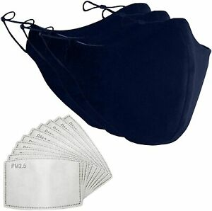 Cotton Face Mask and PM2.5 Filter Pocket Washable Reusable Breathable covering.