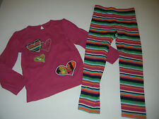 Baby Gap Himalaya 5 5T Pink Heart Top Striped Leggings DM