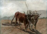 CATTLE IN LANDSCAPE Watercolour Painting INDISTINCTLY SIGNED - 20TH CENTURY