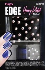FING'RS EDGE Nail Art HEAVY METAL Silver Leaf Foil+ROUND STUDS+Polish 32959
