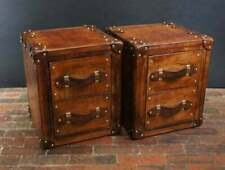 Finest English Leather Occasional Side Table Nightstand Trunks with Draws Decor