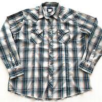 Wrangler Shirt Top Pearl Snap Front Mens Size XXL