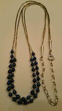 Lapis Lazuli Carolyn Pollack Necklace Round Bead 2 Strand Liquid Sterling Silver