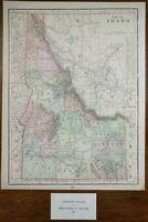 """Vintage 1902 IDAHO Map 11""""x14"""" ~ Old Antique Original BOISE CHALLIS POCATELLO"""