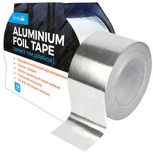 ALUMINIUM FOIL TAPE Self Adhesive Silver Repair All Metal Surfaces 50MM X 10M
