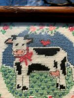Vintage COW WITH UDDER Holstein Cross Stitch Embroidery Framed Art 6/6 ❤️sj8j