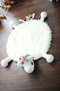 Handmade Crochet Unicorn Kid Play Rug/Carpet Nursery Room Decoration