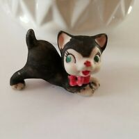 Vintage Ceramic Cat Kitten Feline Black and White with Red Bow Green Eyes