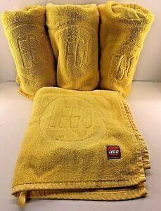 Lego Child Size Bath Towels Yellow Brick with Hanging Loop On Each End Set of 4