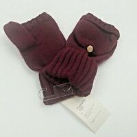 A New Day Womens Fingerless Flip Top Gloves Burgundy One Size Winter Gloves