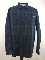 Eddie Bauer Mens 2XL Long Sleeve Plaid Shirt Collared Button Down Blue & Green