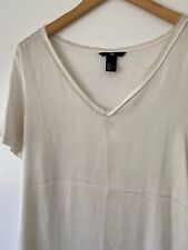H&M Women's Cream Satin Effect V-neck Blouse Top UK S New Without Tags