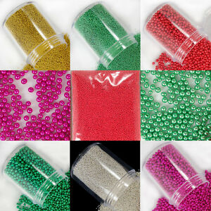 Glass Micro Beads No Hole Nail Art Caviar Marbles Microbeads Pick Size Color