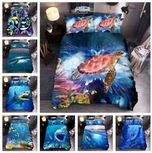 Shark Turtle Animal Quilt Doona Duvet Cover Set Single/Double/Queen/King Size