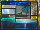 Stained Glass Window Panel howling coyote sky blue northern lights