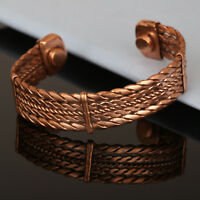 Copper Magnetic Bracelet Unisex Cuff Link Therapy Healing Bangle Bio Pain Relief