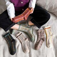 Retro Striped Women's Socks Winter Japanese Mid-tube Cotton Socks Personality