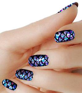 Mermaid Blue color wraps real nail polish strips M126 street art